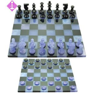 Chess set marble, blue + black, 75mm