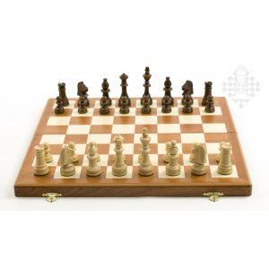 Schachkassette Mahagoni/Ahorn, 37,5 x 19 cm