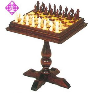 Chess table, Ramine wood, reduced