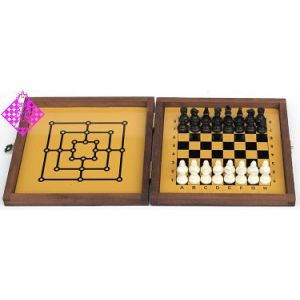 Travel chess, magnetic, dark wood