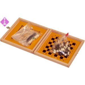 Travel chess, magnetic, bright wood