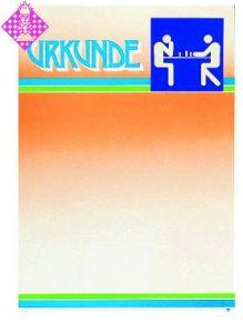 Certificate, yellow/blue lettering/motif