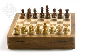 Schachkassette Palisander/Ahorn, 19x19 cm