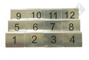 Brettnummernschild Set, 12-teilig (1-12)