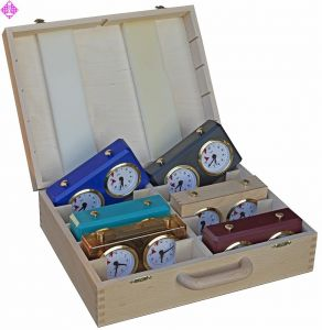Wooden case for 10 BHB / Berlin chess clocks
