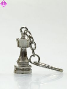 Schlüsselanhänger, Turm, silberfarben